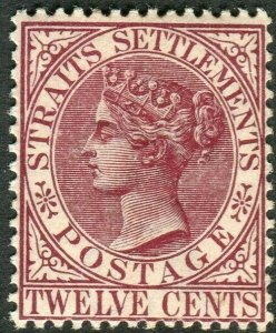 STRAITS SETTLEMENTS-1883-91 12c Brown-Purple.  A lightly mounted mint Sg 67