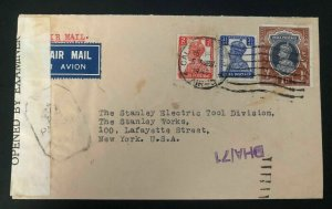 1943 Calcutta India Airmail Censored Cover To Stanley Tool New York Usa