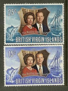 British Virgin Islands, Scott#'s241-242, Silver Wedding, MH