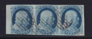 8A , 8A & 7 Scarce strip of 3 sound PSE cert nice color cv $ 2500 ! see pic !