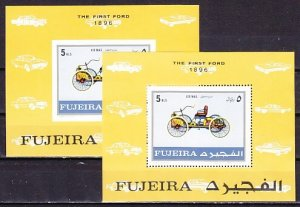 Fujeira, Mi cat. 619, BL40 A-B. Antique Car, Perf & IMPERF s/sheets. ^
