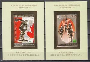 Eq. Guinea, MI cat. 793-794, BL211-212 B. Olympics, IMPERF Gold Foil s/sheets.