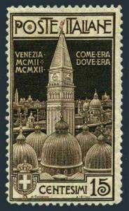 Italy 125,hinged.Michel 106. Re-erection of the Campanile Venice,1912.