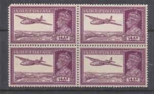 INDIA, 1940 KGVI 14a. Purple, block of 4, ,mnh./lhm.