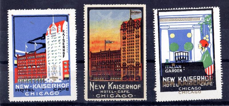 USA Chicago New Kaiserhof Hotel Set of 3 Stamps OK135
