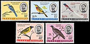Ethiopia MH C97-101 Birds SCV 14.85