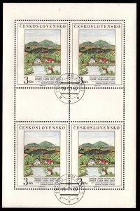 Czechoslovakia - Scott #2680 Miniature Sheet of 4 Cancelled (Painting)