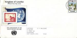 LESOTHO, 1985, used. FDC 40th Anniversary of the United Nations