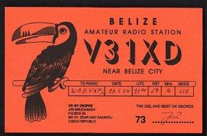 QSL QSO RADIO CARD V31XD,Pic of Minor Bird?/OK2PDE, Czech Republic (Q2150)