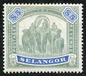 Selangor SG64 1895 Five Dollar Green and Blue M/Mint (hinge remainders)