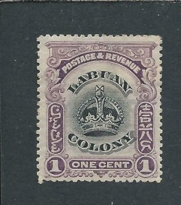 LABUAN 1902-03 1c BLACK & PURPLE PERF 14½-15 MM SG 117a CAT £100