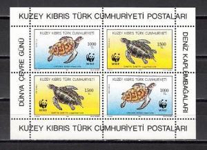 Turkish Rep. of Cyprus, Scott cat. 328a. Sea Turtles s/sheet.
