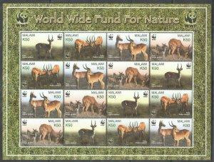 PK195 2003 Malawi Faune Animaux Wwf Puku 1SH MNH Timbres