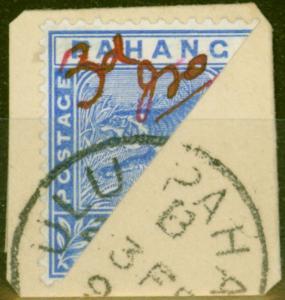 Pahang 1897 3c on Half 5c Blue SG18d Fine Used on Piece