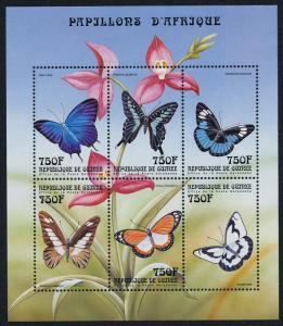 Guinea 1599 MNH Butterflies, Flowers