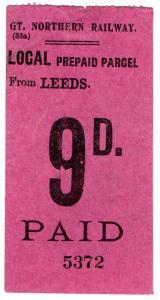(I.B) Great Northern Railway : Local Prepaid Parcel 9d (Leeds)