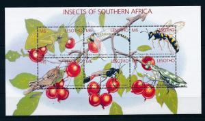 [36223] Lesotho 2002 Insects Insekten  Grasshoppers Wasp Dragonfly MNH Sheet