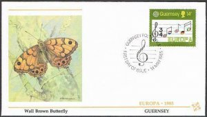 Guernsey 314-315,two FDC.Michel 161-162. EUROPE CEPT-1985,Musical staff,flags.