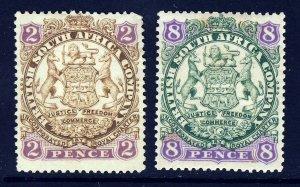 RHODESIA 1897 Arms 2d & 8d Lion Part Shaded Scroll Behind Leg SG 30 & SG 34 MINT