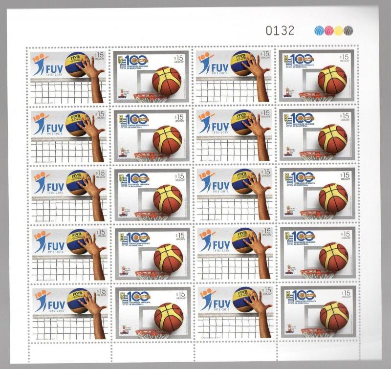 SPORT VOLLEYBALL & BASKETBALL 100 ANNIV URUGUAY 2015 MNH FULL SHEET
