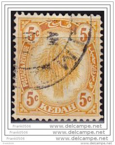 Malaya, Kedah, 1921-36, Sheaf of Rice, 5c, sc#30, used