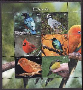 D2-Malawi-unused NH sheet of 6 -Birds-Cardinal-2012-issue no