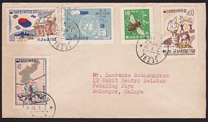 KOREA 1961 cover to Malaya - nice franking..................................9101