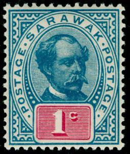 SARAWAK SG36, 1c grey-blue & rosine, M MINT.