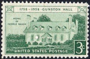 SC#1108 3¢ Gunston Hall Issue (1958) MNH