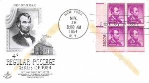 #1036a, 4c Abraham Lincoln, Art Craft, plate block of 4