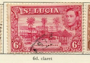 St Lucia 1938-48 GVI Early Issue Fine Used 6d. NW-154980