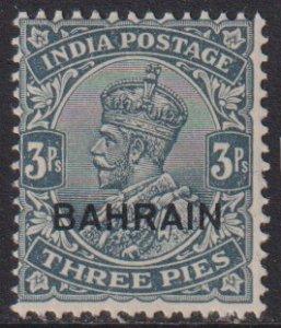 1933 Bahrain  KGV King George V 3 pies issue MMH Sc# 1 CV $4.50