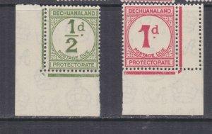 BECHUANALAND, POSTAGE DUE, 1932 ordinary paper, 1/2d.  & 1d., corner, mnh.
