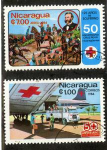 NICARAGUA 1382-1383 USED SCV $0.70 BIN $0.35 RED CROSS