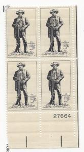United States, 1242, Sam Houston Plate Block of 4 #27664 LR, MNH