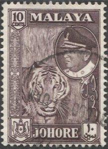 MALAYA Johore 1960  Used 10c Tiger, Sc 163  VF