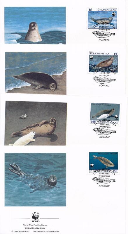 [53937] Turkmenistan 1993 Marine life WWF Seal  FDC 4 covers