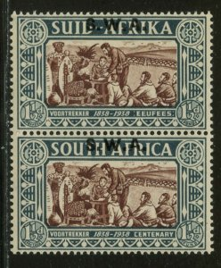 SOUTH WEST AFRICA Sc#B7 SG107 1938 1½ + 1½ Voortrekker Vertical Pair OG M LH
