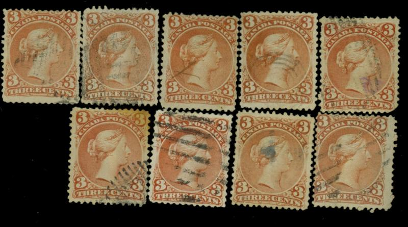 Canada #25 (9) Used Ave-Fine Most w small defects Cat$360