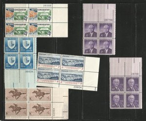 USA Stamps #1150,1151,1154,1161,1164,1170 Plate Blocks of 4