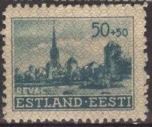 Estonia NB4 (mnh perf. 11½) 50k+50k view of Tallinn, bluish grn (1941)