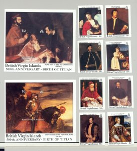 British Virgin Islands #595-604 Titian Art 8v & 2v S/S Imperf Proofs