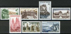 France 1957, Landscapes, Buildings set VF MNH, Mi 1160-66 cat 3€