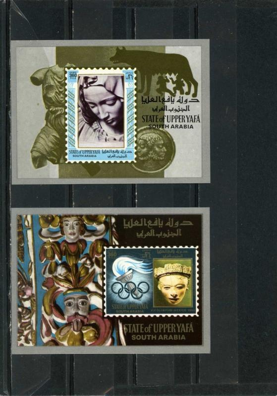 ADEN UPPER YAFA 1967 ART/OLYMPICS SMALL COLLECTION SET OF 2 S/S MNH