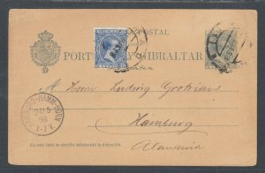 Spain H&G 25 used. 1898 5c King Alfonso Postal Card uprated with 5c definitive