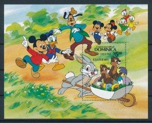 [105797] Dominica 1987 Disney Easter Mickey Goofy Donald Souvenir Sheet MNH