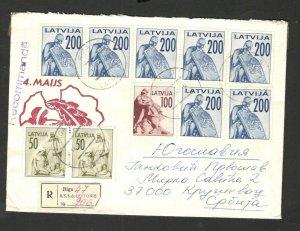 LATVIA TO YUGOSLAVIA, SERBIA- NICE R LETTER - MULTI FRANKED (85)