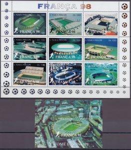 Sao Tome and Principe. 1997. 1756-64 bl373. Soccer world cup. MNH.