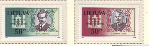 Lithuania Sc 563-4 1997 Birzyska & Saulys stamp set mint NH