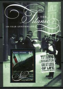 Nevis 2012 MNH Titanic 100 Year Anniv 1v S/S Ships Boats Stamps